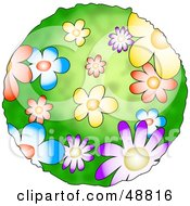 Royalty Free RF Clipart Illustration Of A Green Planet Covered In Colorful Flowers
