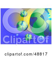 Royalty Free RF Clipart Illustration Of Green And Blue Globes Around A Big Planet On A Bubbly Background