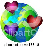 Royalty Free RF Clipart Illustration Of Hearts Over A Globe