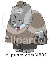 Human Like Male Business Elephant Carrying Briefcase Clipart by djart