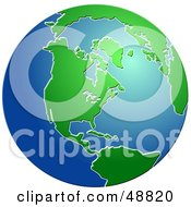 Royalty Free RF Clipart Illustration Of A Blue And Green Globe Of America