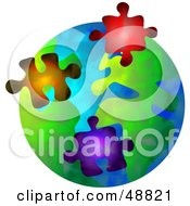 Royalty Free RF Clipart Illustration Of Puzzle Pieces Over A Globe