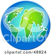 Royalty Free RF Clipart Illustration Of A Blue Beveled Globe With Green Continents by Prawny