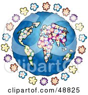 Royalty Free RF Clipart Illustration Of A Floral World Globe With Blue Seas