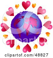 Royalty Free RF Clipart Illustration Of A Globe Surrounded By Hearts