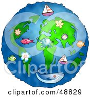 Royalty Free RF Clipart Illustration Of Animals Flowers Boats And Whales Over A Globe by Prawny