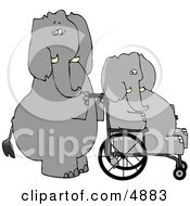 Human Like Caretaker Elephant Pushing Injured Elephant In A Wheelchair Clipart