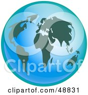 Royalty Free RF Clipart Illustration Of A Bright Blue Orb Globe With Dark Green Continents