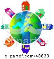 Royalty Free RF Clipart Illustration Of A Globe Surrounded By Colorful Houses