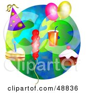 Royalty Free RF Clipart Illustration Of Party Objects Over A Globe by Prawny