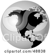 Royalty Free RF Clipart Illustration Of A Black And White Globe Featuring North America