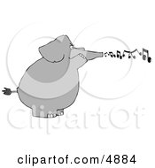 Elephant Blowing Musical Notes From His Trunk Clipart by djart