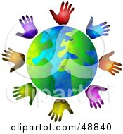 Royalty Free RF Clipart Illustration Of A Globe Surrounded By Diverse Hands by Prawny #COLLC48840-0089