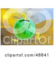 Royalty Free RF Clipart Illustration Of Coins Beside A Green Earth Money Box