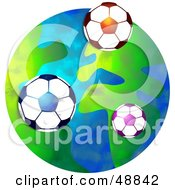 Royalty Free RF Clipart Illustration Of Soccer Balls Over A Globe by Prawny
