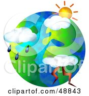 Royalty Free RF Clipart Illustration Of Weather Icons Over A Globe by Prawny