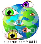 Royalty Free RF Clipart Illustration Of Colorful Eyes Over A Globe by Prawny