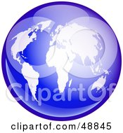 Royalty Free RF Clipart Illustration Of A Shiny Blue Globe With White Continents by Prawny