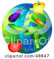 Royalty Free RF Clipart Illustration Of Organic Veggies Over A Globe