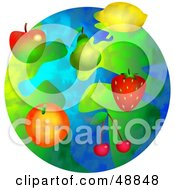 Royalty Free RF Clipart Illustration Of A Fruity World With Apples Pears Strawberries Cherries Lemons And Oranges