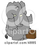 Human Like Elephant Trying To Hitch A Ride Clipart