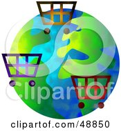 Royalty Free RF Clipart Illustration Of Shopping Carts Over A Globe by Prawny