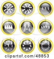 Royalty Free RF Clipart Illustration Of A Digital Collage Of Black White And Yellow Teamwork Icons