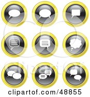 Royalty Free RF Clipart Illustration Of A Digital Collage Of Black White And Yellow Messenger Icons by Prawny