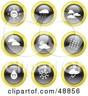 Royalty Free RF Clipart Illustration Of A Digital Collage Of Black White And Yellow Weather Icons
