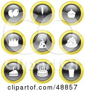 Royalty Free RF Clipart Illustration Of A Digital Collage Of Black White And Yellow Party Icons by Prawny