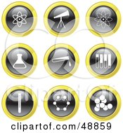Royalty Free RF Clipart Illustration Of A Digital Collage Of Black White And Yellow Science Icons by Prawny