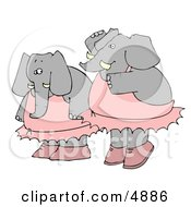 Two Human Like Elephant Ballerina Dancers Clipart