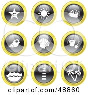 Royalty Free RF Clipart Illustration Of A Digital Collage Of Black White And Yellow Beach Icons by Prawny