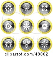 Royalty Free RF Clipart Illustration Of A Digital Collage Of Black White And Yellow Flower Icons