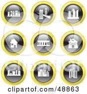 Royalty Free RF Clipart Illustration Of A Digital Collage Of Black White And Yellow Architecture Icons