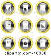Royalty Free RF Clipart Illustration Of A Digital Collage Of Black White And Yellow Document Icons by Prawny