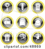 Royalty Free RF Clipart Illustration Of A Digital Collage Of Black White And Yellow Office Icons by Prawny