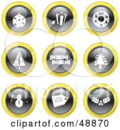 Royalty Free RF Clipart Illustration Of A Digital Collage Of Black White And Yellow Christmas Icons by Prawny