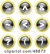 Royalty Free RF Clipart Illustration Of A Digital Collage Of Black White And Yellow Keyboard Symbol Icons