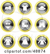Royalty Free RF Clipart Illustration Of A Digital Collage Of Black White And Yellow Clothing Icons by Prawny