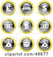 Royalty Free RF Clipart Illustration Of A Digital Collage Of Black White And Yellow Money Icons