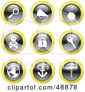 Digital Collage Of Black White And Yellow Icons