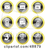 Royalty Free RF Clipart Illustration Of A Digital Collage Of Black White And Yellow Communication Icons by Prawny