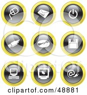 Royalty Free RF Clipart Illustration Of A Digital Collage Of Black White And Yellow Computer Icons
