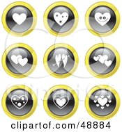 Royalty Free RF Clipart Illustration Of A Digital Collage Of Black White And Yellow Heart Icons