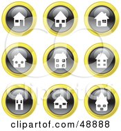 Royalty Free RF Clipart Illustration Of A Digital Collage Of Black White And Yellow House Icons