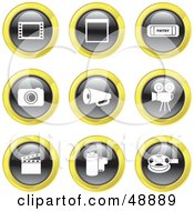 Royalty Free RF Clipart Illustration Of A Digital Collage Of Black White And Yellow Film Industry Icons by Prawny