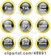 Royalty Free RF Clipart Illustration Of A Digital Collage Of Black White And Yellow Keyboard Icons