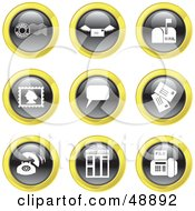 Royalty Free RF Clipart Illustration Of A Digital Collage Of Black White And Yellow Electronic And Common Communication Icons