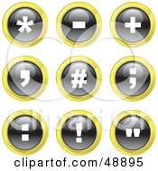 Royalty Free RF Clipart Illustration Of A Digital Collage Of Black White And Yellow Punctuation Icons